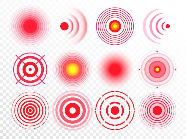 Círculos de dolor. punto blanco doloroso rojo, círculo de remedio de medicación dirigido y conjunto aislado de puntos de dolor en las articulaciones