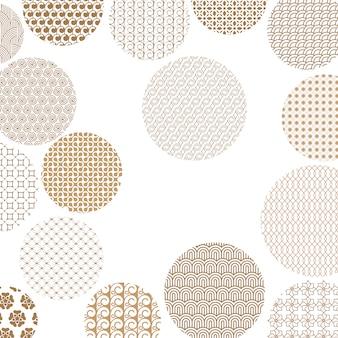 Círculos dorados con diferentes patrones geométricos.
