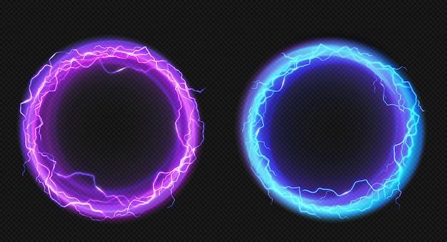 Círculos eléctricos con descarga de rayos y resplandor.