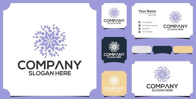 Círculos hechos con logotipo de hojas y flores y tarjeta de visita premium.