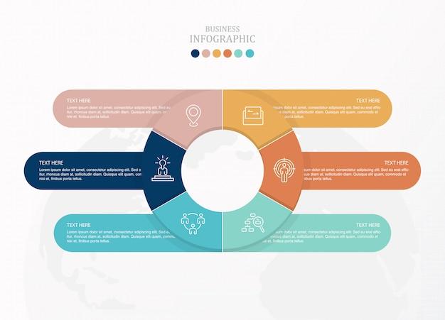 Círculos infografía e iconos para el concepto de negocio.