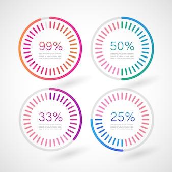 Círculos de infografía con porcentajes