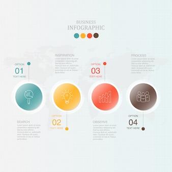 Círculos infográficos con 4 procesos.