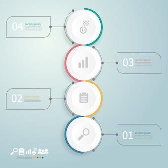 Círculos línea de tiempo infografía 4 pasos
