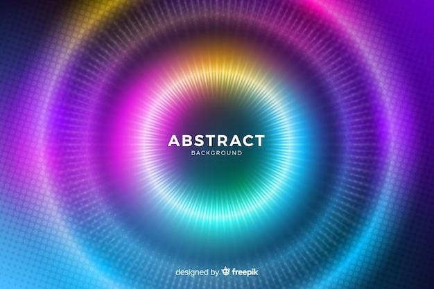 Círculos con luces de colores que se desvanecen líneas y puntos