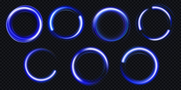 Círculos luminosos con destellos, efecto de luz mágica con polvo de purpurina.
