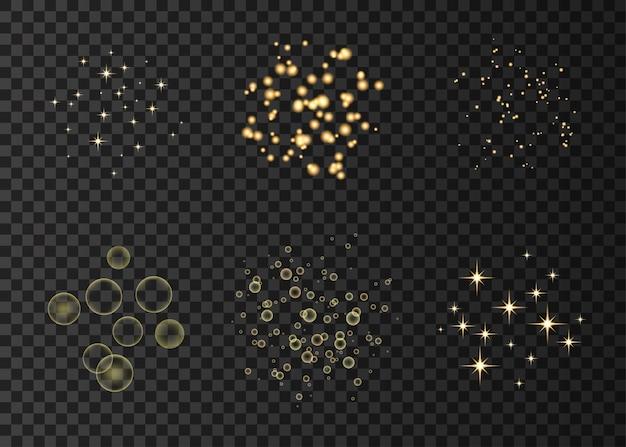 Círculos de neón dorado y efectos de luces de estrellas.