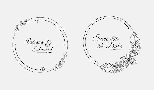 Círculos de plantilla de portada de título de boda