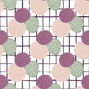 Círculos de puntos patrón de doodle brillante con fondo a cuadros blanco. elementos de figura púrpura, verde claro y rosa.