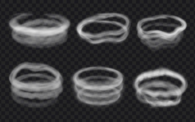 Círculos, remolinos y anillos realistas de viento, vapor o humo. vapor de forma redonda, nubes de niebla en espiral, círculo de vape. conjunto de vector de efecto de hielo helado 3d. borde de vapor después de un cigarrillo o una pipa de agua
