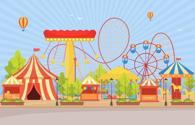 Circus carnival festival fun fair con paisaje de fuegos artificiales