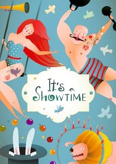 Circus carnival show vintage billboard poster con chica y hombre fuerte