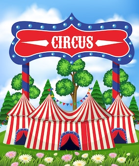 A circus tents at the park