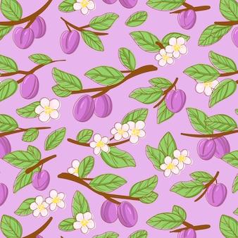 Ciruela fruta y flores de patrones sin fisuras