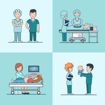 Cirugía de cesárea plana lineal del nacimiento del bebé, equipo de ecografía. niño, padre feliz, mujer embarazada y personajes de material médico. cuidado de la salud, concepto de ayuda profesional.