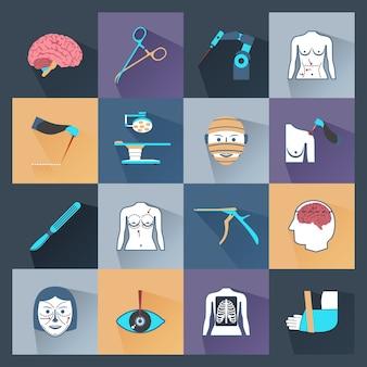 Cirugía iconos planos
