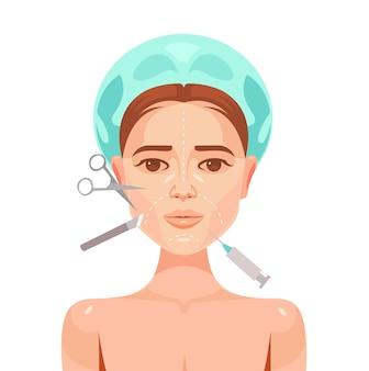 Cirugía plástica. rostro de mujer.