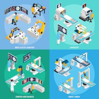 Cirugía robótica concepto de diseño isométrico