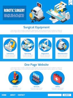 Cirugía robótica isométrica diseño de una página
