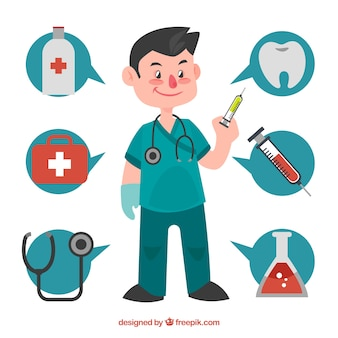 Cirujano con burbujas de conversación y elementos médicos