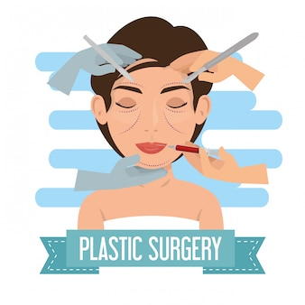 Cirujano manos con proceso de cirugía plástica mujer