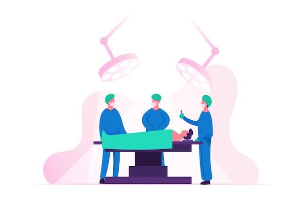 Cirujano que opera al paciente acostado en la cama en la sala de cirugía en el hospital o clínica. ilustración plana de dibujos animados