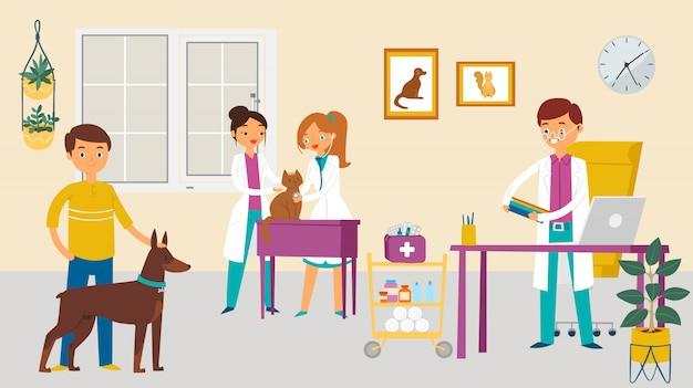 Cirujano veterinario moderno, cuidado médico perro gato animal, carácter masculino veterinario femenino médico ayuda criatura doméstica ilustración de dibujos animados.