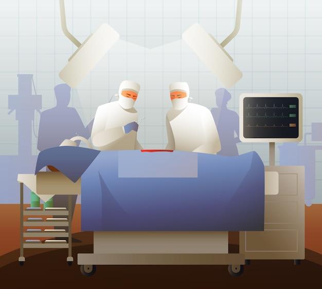 Cirujanos durante la operación composición plana