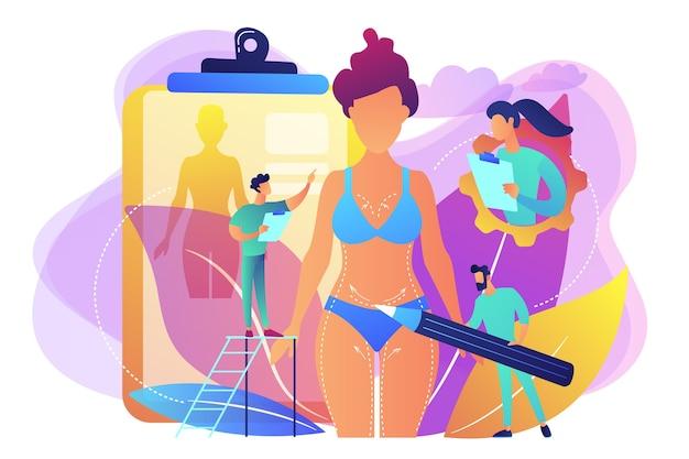 Cirujanos plásticos haciendo marcas de lápiz y preparando el contorno corporal de la mujer. contorno corporal, cirugía de corrección corporal, concepto de servicio de plástico corporal.