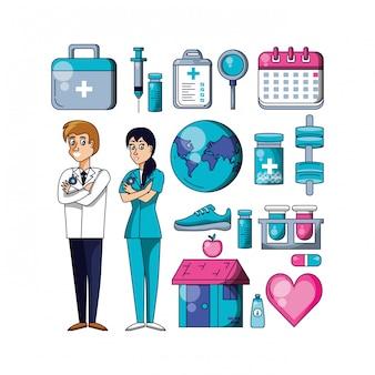 Cirujanos profesionales con set de iconos