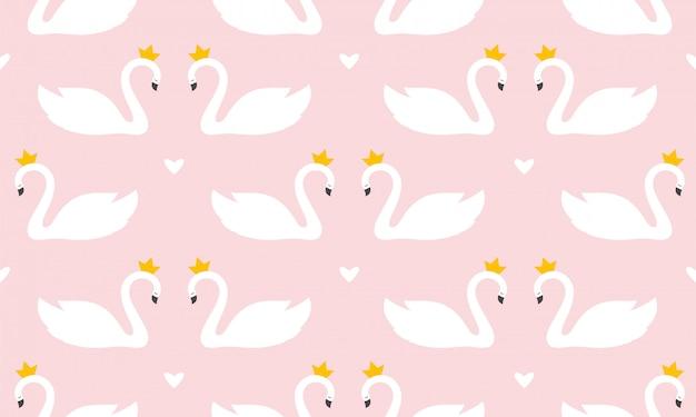 Cisne imprimir patrones sin fisuras en colores pastel vector ilustración