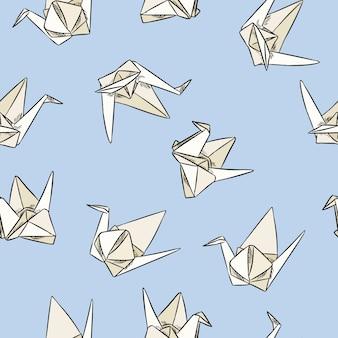 Cisne de origami de papel dibujado a mano sin patrón en colores pastel