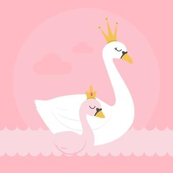 Cisne princesa y reina en el agua