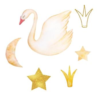 Cisne suave de acuarela: un símbolo del amor único, pájaro romántico y hermoso con elementos lindos, luna, estrella, corona. ilustración aislada sobre fondo blanco.