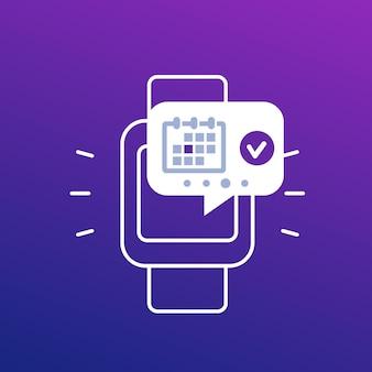 Cita, calendario de eventos, notificación en el icono de reloj inteligente, vector