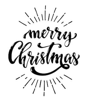 Cita creativa de letras de mano de feliz navidad