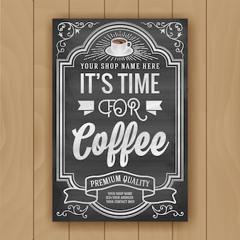 Cita de café en el fondo de la pizarra para decoración de carteles y tiendas