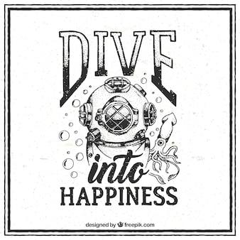 Cita de submarinismo vintage dibujada a mano