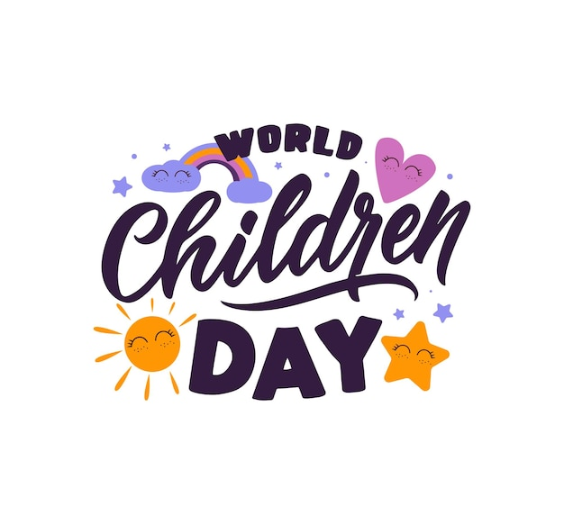 Una cita del día mundial del niño el diseño de la imagen del texto es bueno para la pancarta del cartel de felices fiestas