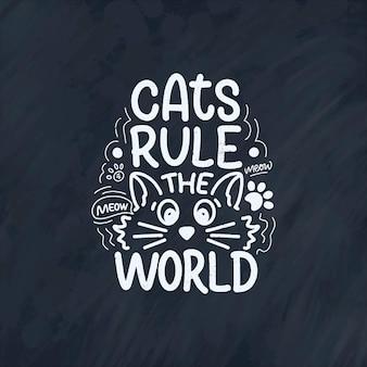 Cita divertida de letras sobre gatos para imprimir en estilo dibujado a mano.