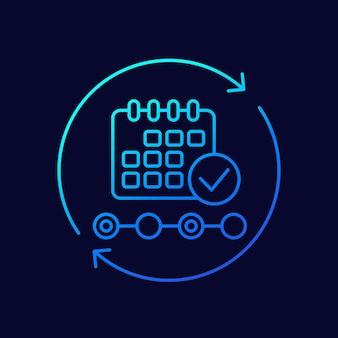 Cita, icono de vector de línea de programación de eventos