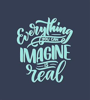 Cita inspiradora sobre el sueño. dibujado a mano ilustración vintage con letras