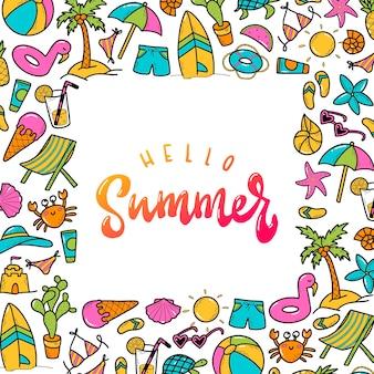 Cita de letras 'hola verano' enmarcada con garabatos