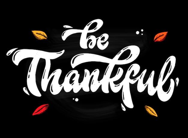 Cita de letras de mano estar agradecido