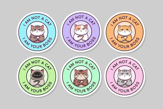 Cita linda del jefe del gato de kawaii