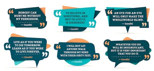 Cita marcos de comentarios. conjunto de plantillas de citas de gandhi, marco de citas y citas de citas