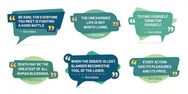 Cita en marcos de cotizaciones. citas de sócrates, calcomanías de discurso y conjunto de insignias de cuadro de comentarios