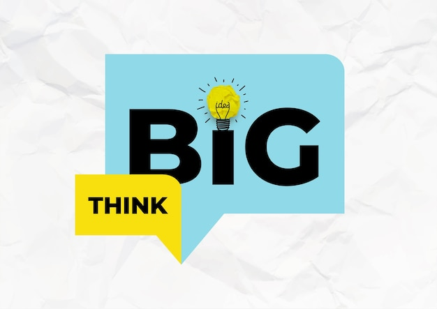 Cita de motivación inspiradora: piensa en grande. papel arrugado amarillo en forma de bombilla.