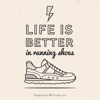 Cita motivadora con dibujo de zapatilla deportiva