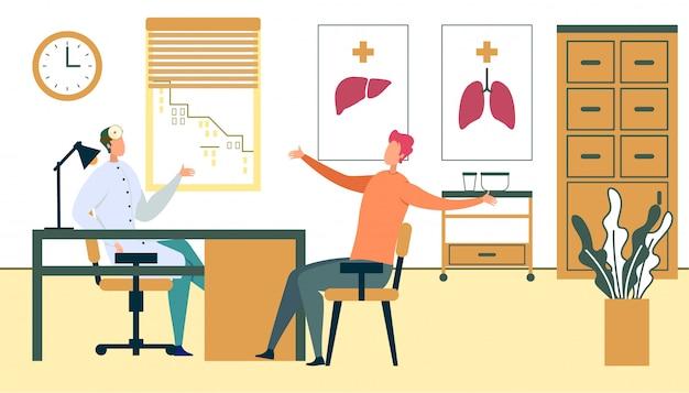 Cita con el paciente masculino en el consultorio del médico de familia